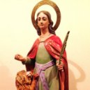 Arte: ANTIGUA FIGURA RELIGIOSA VIRGEN SANTA TECLA CON LEÓN AÑO 1890 MEDIDAS 70X25CM. Lote 160583852