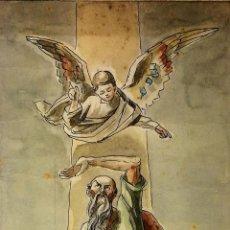 Arte: EL SACRIFICIO DE ISAAC. ACUARELA SOBRE PAPEL. GORGUES ATRIB. ESPAÑA. 1964. Lote 104295319