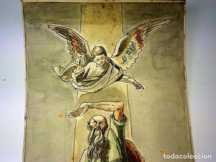 Arte: EL SACRIFICIO DE ISAAC. ACUARELA SOBRE PAPEL. GORGUES ATRIB. ESPAÑA. 1964 - Foto 5 - 104295319