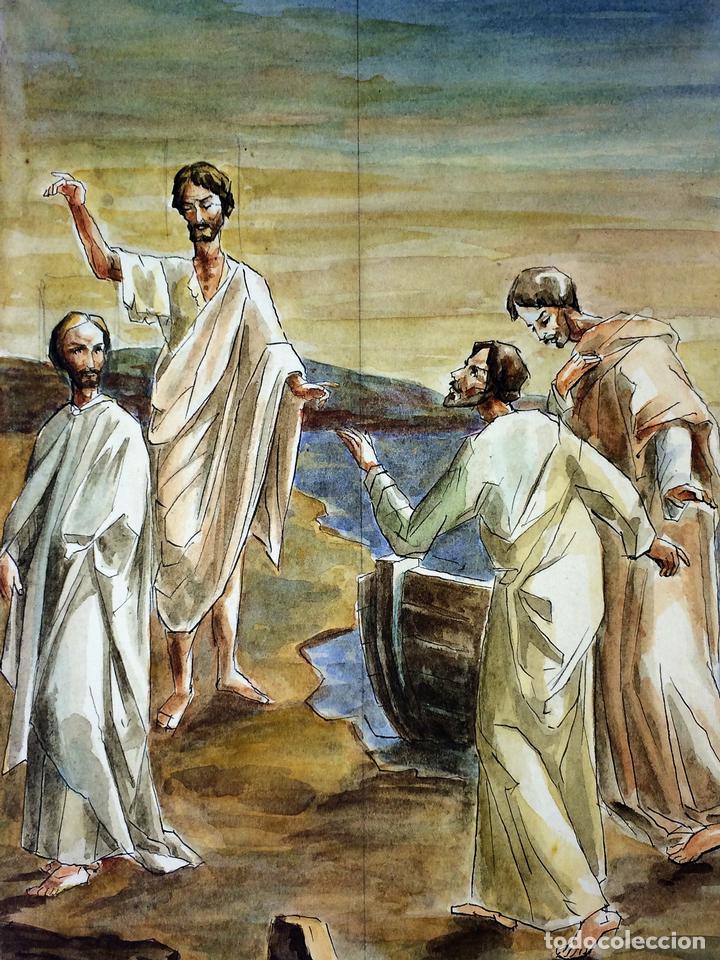 MIRAD AL MESIAS. ACUARELA SOBRE PAPEL. ATRIB. GORGUES. ESPAÑA. CIRCA 1960 (Arte - Arte Religioso - Pintura Religiosa - Acuarela)