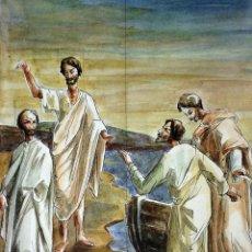 Arte: MIRAD AL MESIAS. ACUARELA SOBRE PAPEL. ATRIB. GORGUES. ESPAÑA. CIRCA 1960. Lote 104296667