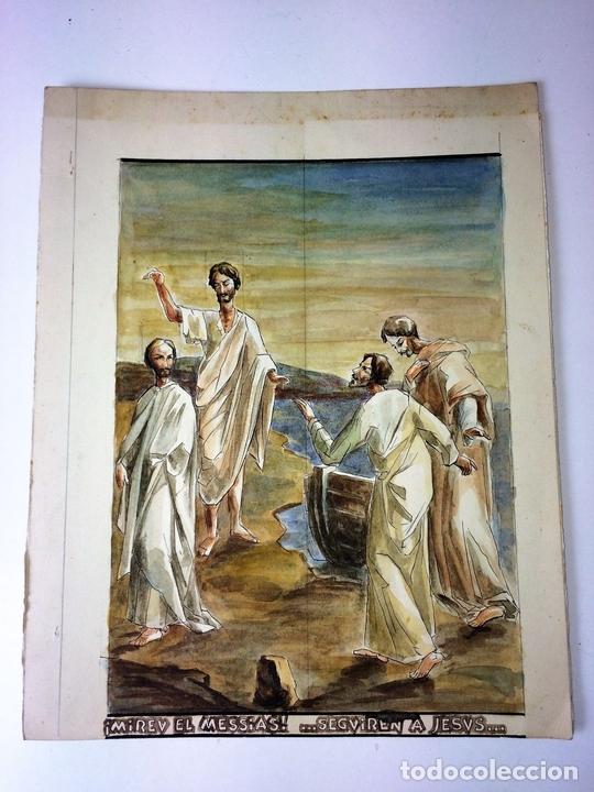 Arte: MIRAD AL MESIAS. ACUARELA SOBRE PAPEL. ATRIB. GORGUES. ESPAÑA. CIRCA 1960 - Foto 2 - 104296667
