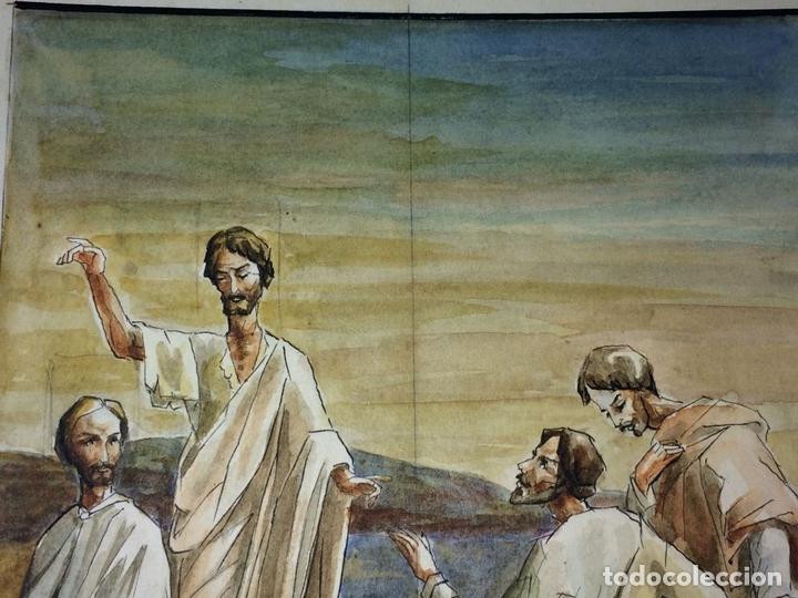 Arte: MIRAD AL MESIAS. ACUARELA SOBRE PAPEL. ATRIB. GORGUES. ESPAÑA. CIRCA 1960 - Foto 3 - 104296667