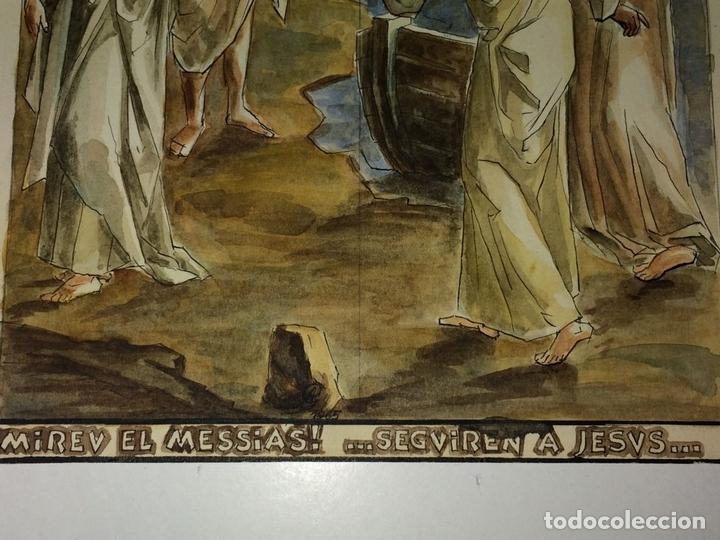 Arte: MIRAD AL MESIAS. ACUARELA SOBRE PAPEL. ATRIB. GORGUES. ESPAÑA. CIRCA 1960 - Foto 4 - 104296667