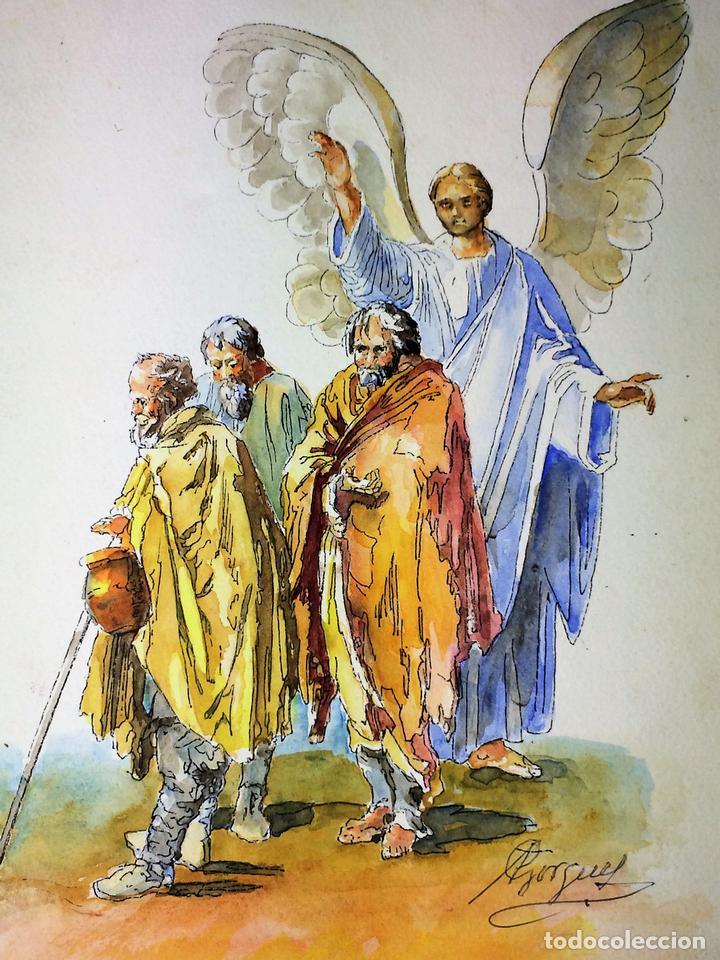 EL ÁNGEL DE LA GUARDA. ACUARELA SOBRE PAPEL. FIRMADO GORGUES. ESPAÑA. CIRCA 1960 (Arte - Arte Religioso - Pintura Religiosa - Acuarela)