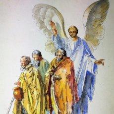 Arte: EL ÁNGEL DE LA GUARDA. ACUARELA SOBRE PAPEL. FIRMADO GORGUES. ESPAÑA. CIRCA 1960. Lote 104297287