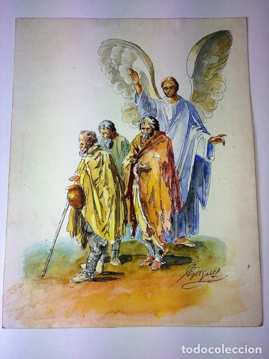 Arte: EL ÁNGEL DE LA GUARDA. ACUARELA SOBRE PAPEL. FIRMADO GORGUES. ESPAÑA. CIRCA 1960 - Foto 2 - 104297287