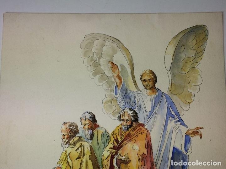 Arte: EL ÁNGEL DE LA GUARDA. ACUARELA SOBRE PAPEL. FIRMADO GORGUES. ESPAÑA. CIRCA 1960 - Foto 3 - 104297287