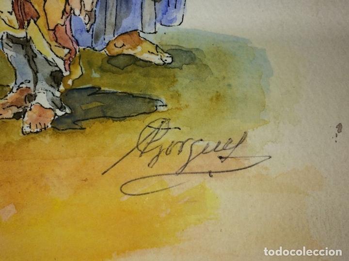 Arte: EL ÁNGEL DE LA GUARDA. ACUARELA SOBRE PAPEL. FIRMADO GORGUES. ESPAÑA. CIRCA 1960 - Foto 4 - 104297287