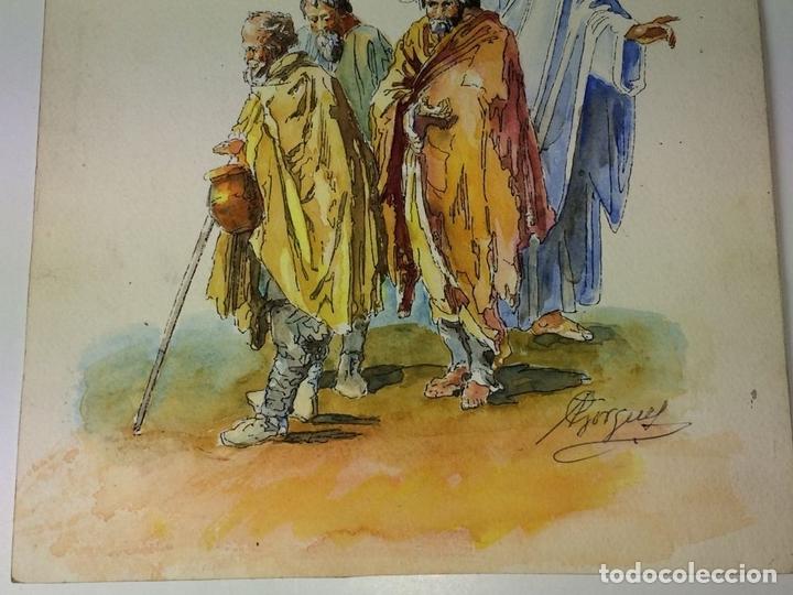 Arte: EL ÁNGEL DE LA GUARDA. ACUARELA SOBRE PAPEL. FIRMADO GORGUES. ESPAÑA. CIRCA 1960 - Foto 5 - 104297287