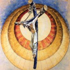 Arte: JESUCRISTO EN MAJESTAD. ACUARELA SOBRE PAPEL. ATRIB. GORGUES. ESPAÑA. CIRCA 1960. Lote 104297863