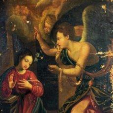 Arte: LA ANUNCIACIÓN. PINTURA. ÓLEO SOBRE LIENZO. ANÓNIMO. ITALIA. SIGLO XVIII. Lote 104362459