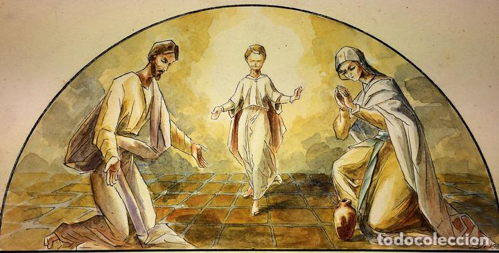 LA SAGRADA FAMILIA. ACUARELA SOBRE PAPEL. FIRMADO GORGUES. ESPAÑA. 1965 (Arte - Arte Religioso - Pintura Religiosa - Acuarela)