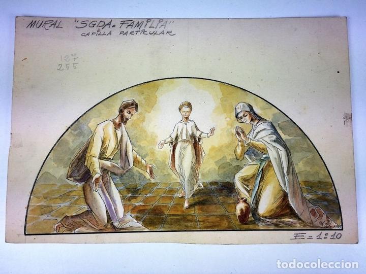 Arte: LA SAGRADA FAMILIA. ACUARELA SOBRE PAPEL. FIRMADO GORGUES. ESPAÑA. 1965 - Foto 2 - 104375587