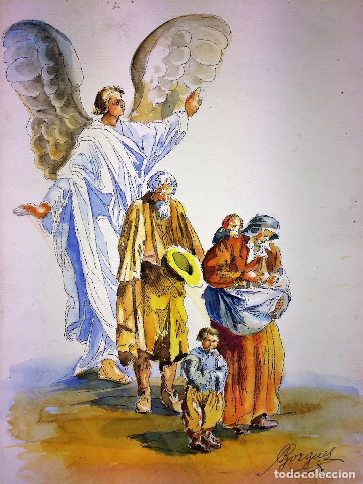 EL ÁNGEL PROTECTOR DE LOS POBRES. ACUARELA SOBRE PAPEL. GORGUES. ESPAÑA CIRCA 1960 (Arte - Arte Religioso - Pintura Religiosa - Acuarela)