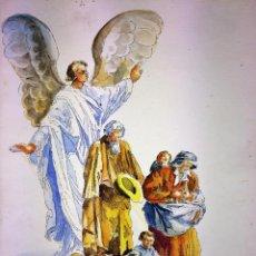Arte: EL ÁNGEL PROTECTOR DE LOS POBRES. ACUARELA SOBRE PAPEL. GORGUES. ESPAÑA CIRCA 1960. Lote 104379147