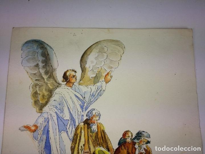 Arte: EL ÁNGEL PROTECTOR DE LOS POBRES. ACUARELA SOBRE PAPEL. GORGUES. ESPAÑA CIRCA 1960 - Foto 2 - 104379147