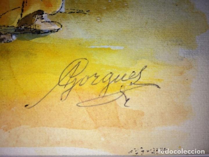 Arte: EL ÁNGEL PROTECTOR DE LOS POBRES. ACUARELA SOBRE PAPEL. GORGUES. ESPAÑA CIRCA 1960 - Foto 3 - 104379147