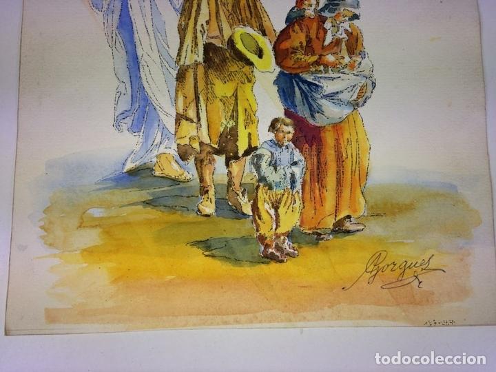 Arte: EL ÁNGEL PROTECTOR DE LOS POBRES. ACUARELA SOBRE PAPEL. GORGUES. ESPAÑA CIRCA 1960 - Foto 4 - 104379147