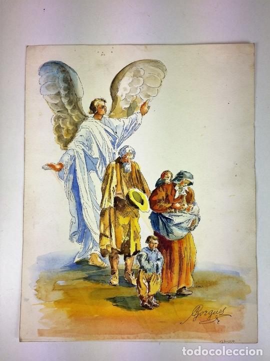 Arte: EL ÁNGEL PROTECTOR DE LOS POBRES. ACUARELA SOBRE PAPEL. GORGUES. ESPAÑA CIRCA 1960 - Foto 6 - 104379147