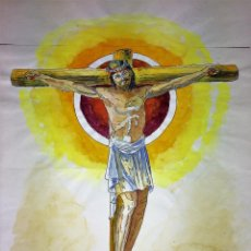 Arte: CRISTO EN MAJESTAD. ACUARELA SOBRE PAPEL. FIRMADO GORGUES. ESPAÑA. 1991. Lote 104382419