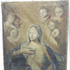 Arte: PINTURA AL ÓLEO PURÍSIMA CON ÁNGELES S.XVIII. Lote 104387231