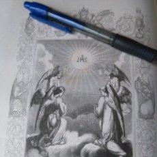 Arte: REF: KK - AÑO 1852 ORIGINAL GRABADO DE LA EPOCA RELIGIOSO - JHS EL DULCE NOMBRE DE JESUS. Lote 104609571