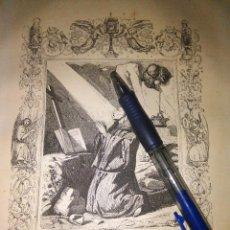 Arte: REF: KK - AÑO 1852 ORIGINAL GRABADO DE LA EPOCA RELIGIOSO - SAN BENITO ABAD Y FUNDADOR. Lote 104643139