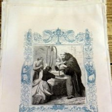 Arte: 1852 ANTIGUO GRABADO ORIGINAL CON ORLA AZUL DE SAN JUAN DE SAHAGUN, 166X266 MM. Lote 104670451