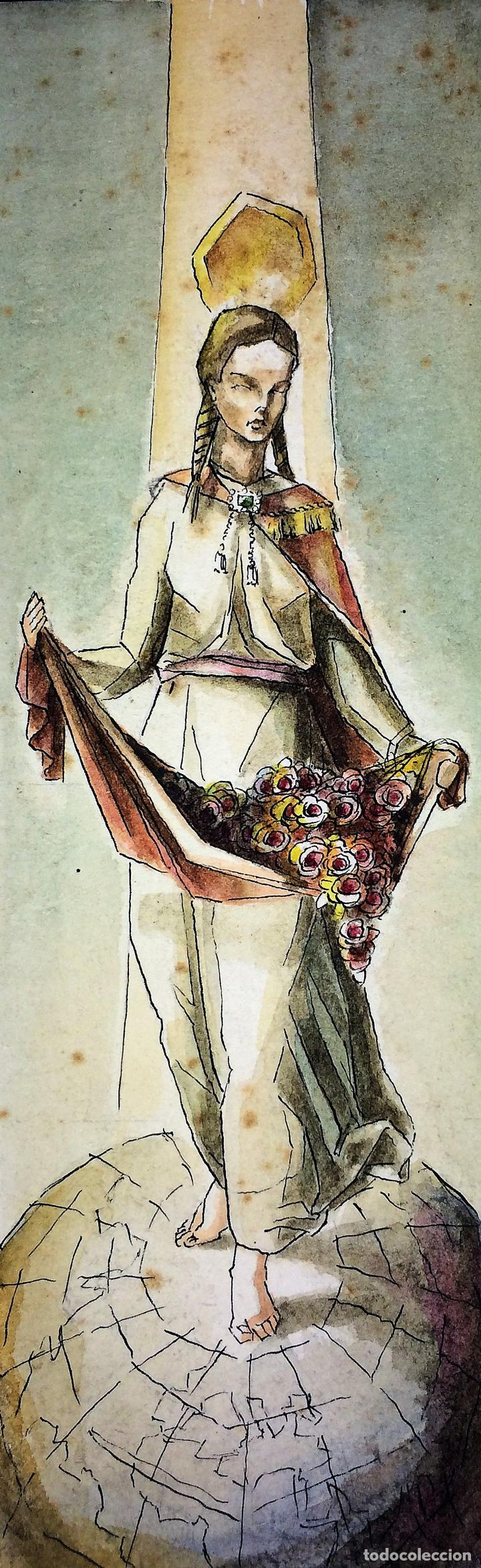 SANTA ISABEL REINA. ACUARELA SOBRE CARTULINA. FIRMADO GORGUES. ESPAÑA. CIRCA 1960 (Arte - Arte Religioso - Pintura Religiosa - Acuarela)