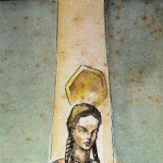 Arte: SANTA ISABEL REINA. ACUARELA SOBRE CARTULINA. FIRMADO GORGUES. ESPAÑA. CIRCA 1960. Lote 104673659