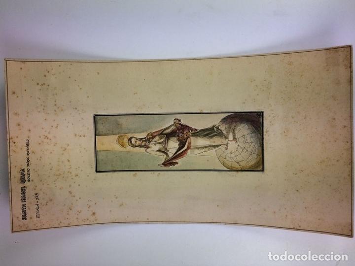 Arte: SANTA ISABEL REINA. ACUARELA SOBRE CARTULINA. FIRMADO GORGUES. ESPAÑA. CIRCA 1960 - Foto 2 - 104673659