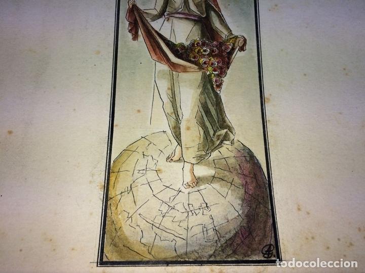 Arte: SANTA ISABEL REINA. ACUARELA SOBRE CARTULINA. FIRMADO GORGUES. ESPAÑA. CIRCA 1960 - Foto 3 - 104673659