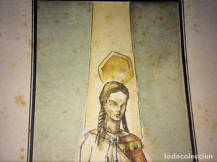 Arte: SANTA ISABEL REINA. ACUARELA SOBRE CARTULINA. FIRMADO GORGUES. ESPAÑA. CIRCA 1960 - Foto 4 - 104673659
