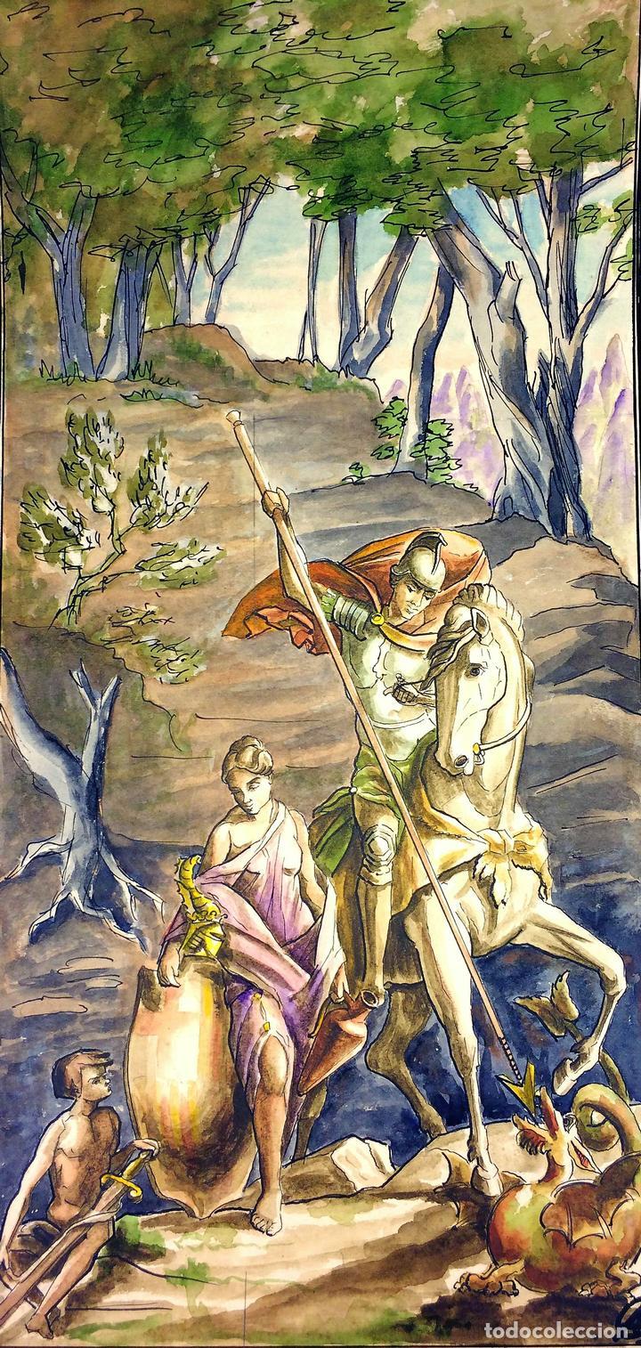 SANT JORDI Y LA PRINCESA. ACUARELA SOBRE CARTULINA. GORGUES. ESPAÑA. CIRCA 1950 (Arte - Arte Religioso - Pintura Religiosa - Acuarela)