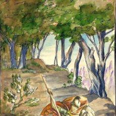 Arte: SANT JORDI Y LA PRINCESA. ACUARELA SOBRE CARTULINA. GORGUES. ESPAÑA. CIRCA 1950. Lote 104680767
