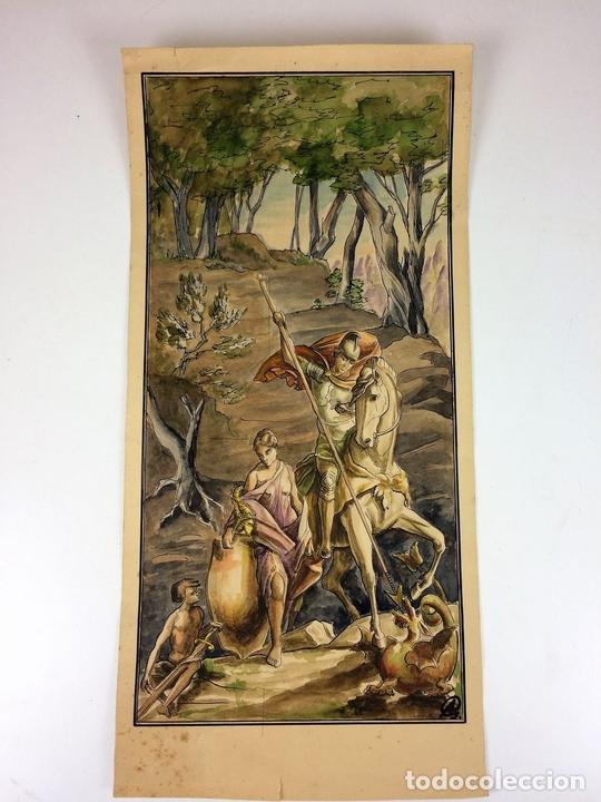 Arte: SANT JORDI Y LA PRINCESA. ACUARELA SOBRE CARTULINA. GORGUES. ESPAÑA. CIRCA 1950 - Foto 2 - 104680767