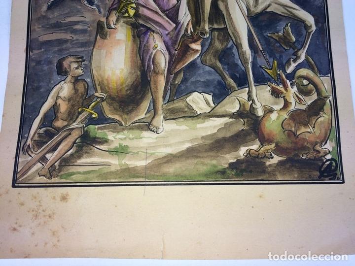 Arte: SANT JORDI Y LA PRINCESA. ACUARELA SOBRE CARTULINA. GORGUES. ESPAÑA. CIRCA 1950 - Foto 3 - 104680767