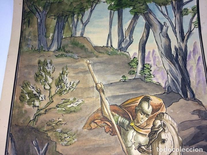 Arte: SANT JORDI Y LA PRINCESA. ACUARELA SOBRE CARTULINA. GORGUES. ESPAÑA. CIRCA 1950 - Foto 4 - 104680767