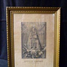 Arte: NTRA. SRA. DE LOS DESAMPARADOS PATRONA DE VALENCIA Y SU REINO. LITOGRAFIA S. XIX, 40 X 29 CM.. Lote 104734779