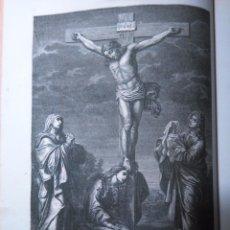 Arte: GRABADO DE 1868 LA MUERTE DE JESUS POR GUIDO DE RENI - VIRGEN MARIA SAN JUAN MAGADALENA MARIA .. Lote 104784671