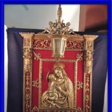 Arte: PRECIOSA CAPILLA O RETABLO DE LA VIRGEN MARIA EN BRONCE CON FAROL. Lote 160218872