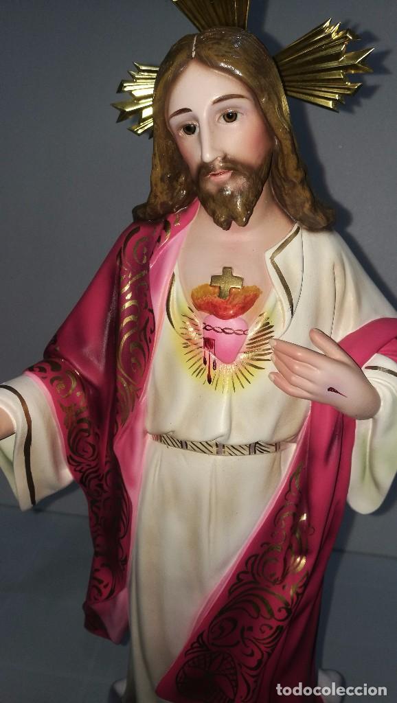 Arte: Escultura Cristo del Sagrado Corazón 60 cm - Foto 5 - 104802231