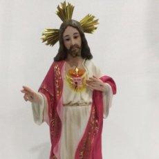 Arte: ESCULTURA CRISTO DEL SAGRADO CORAZÓN 50 CM. Lote 104802363