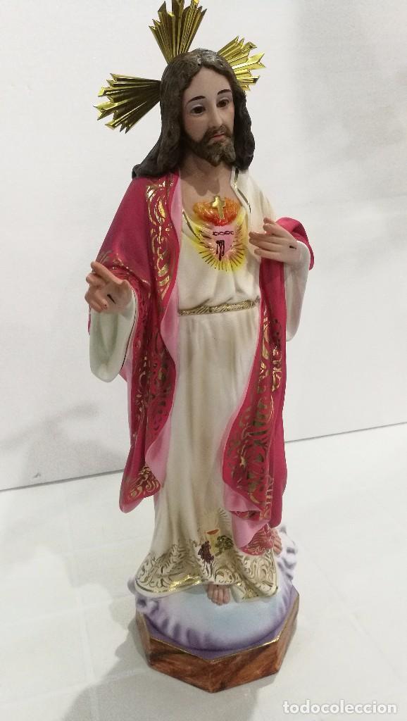 Arte: Escultura Cristo del Sagrado Corazón 50 cm - Foto 4 - 104802363