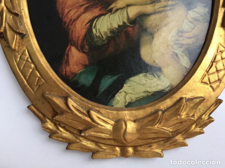 Arte: CUADRO OVALADO MARCO ANTIGUO PAN DE ORO CON REPRODUCCIÓN DE VIRGEN CON NIÑO DE MURILLO - Foto 3 - 104896111