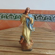Arte: VIRGEN EN BARRO O TERRACOTA CON BASE DE MADERA SELLADA LARTE RELIGIOSA SE OLOT. Lote 104938611