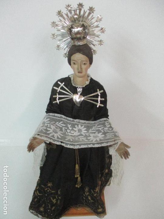 Arte: Virgen Dolorosa - Cap y Pota - Madera Policromada - Bordado Hilo de Oro - Corona y Corazón de Plata - Foto 3 - 104945167