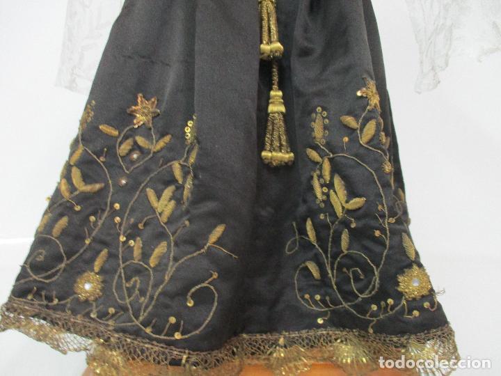 Arte: Virgen Dolorosa - Cap y Pota - Madera Policromada - Bordado Hilo de Oro - Corona y Corazón de Plata - Foto 5 - 104945167