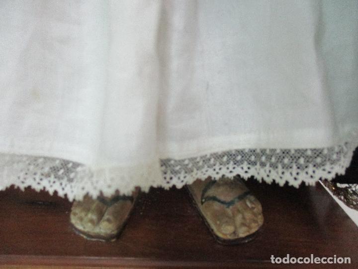 Arte: Virgen Dolorosa - Cap y Pota - Madera Policromada - Bordado Hilo de Oro - Corona y Corazón de Plata - Foto 12 - 104945167